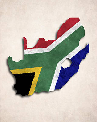 South Africa Map Art With Flag Design Art Print by World Art Prints And Designs