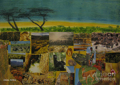 Mini Arora Collages Mixed Media - South Africa Revisited by Mini Arora