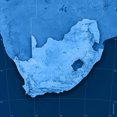 South Africa Digital Art - South Africa Topographic Map by Frank Ramspott