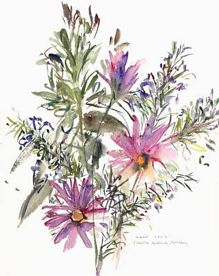 South African Daisies And Lavander Print by Claudia Hutchins-Puechavy
