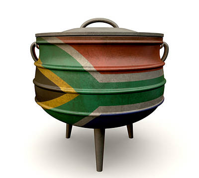 Beadwork Digital Art - South African Potjie Pot Painted Flag by Allan Swart