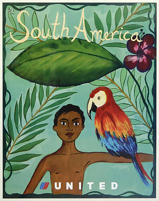 South America United Airlines Art Print