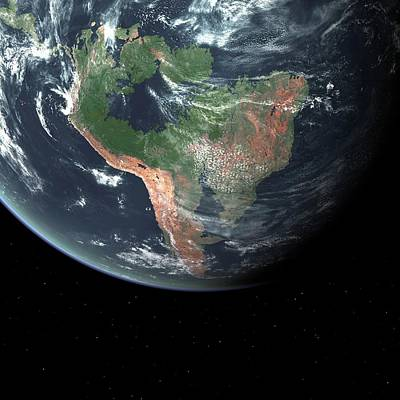 Astronomical Art Photograph - South America With Sea Level Rise by Walter Myers