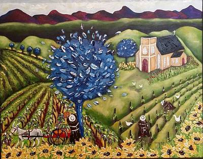 Wine Cart Painting - South Australia Vineyard by Annakie Jordaan