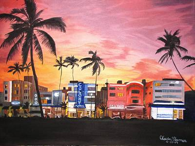 Art Print featuring the painting South Beach Ocean Drive by Kevin F Heuman