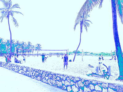 South Beach Volleyball In Faded Memories Original by Diane Phelps