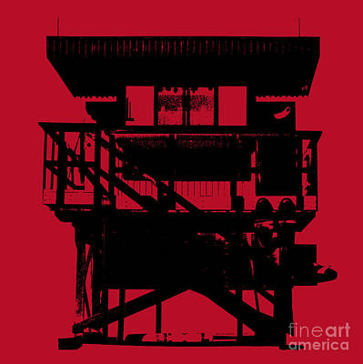 Art Print featuring the digital art South Beach Lifeguard Stand by Jean luc Comperat