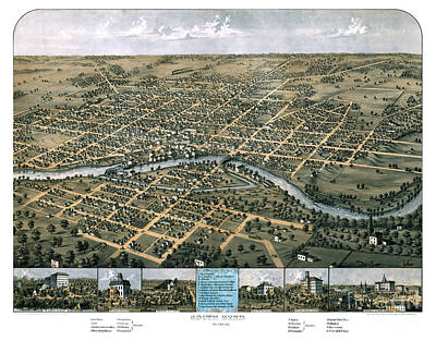 Old Map Painting - South Bend - Indiana - 1866 by Pablo Romero