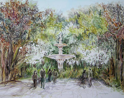 Painting - South Carolina Fountain by Paula Nathan