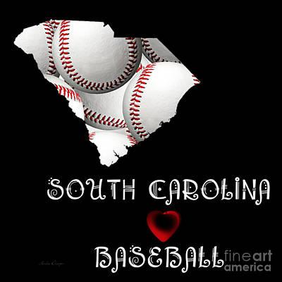 Baseball Digital Art - South Carolina Loves Baseball by Andee Design
