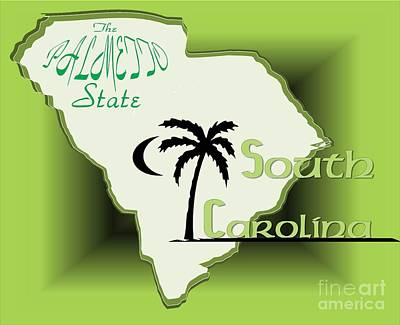 Drawing - South Carolina Palmetto State by Belinda Threeths