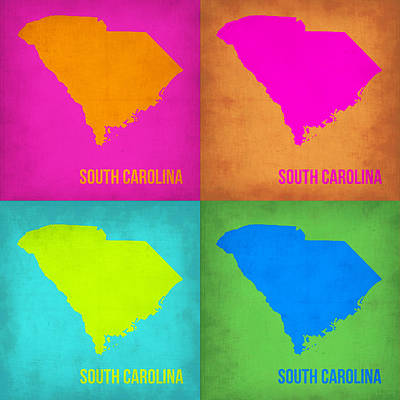 Modern Poster Painting - South Carolina Pop Art Map 1 by Naxart Studio