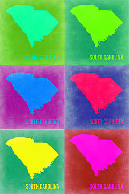 Modern Poster Painting - South Carolina Pop Art Map 2 by Naxart Studio