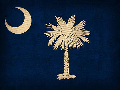 South Carolina State Flag Art On Worn Canvas Print by Design Turnpike