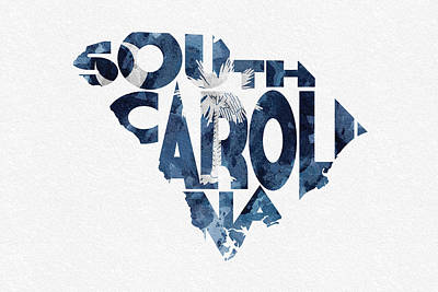 Abstract Map Mixed Media - South Carolina Typographic Map Flag by Ayse Deniz