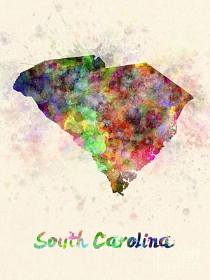 Cartography Painting - South Carolina Us State In Watercolor by Pablo Romero