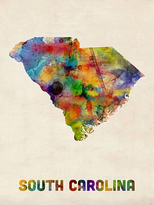 South Digital Art - South Carolina Watercolor Map by Michael Tompsett