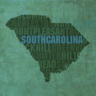 Wall Art - Mixed Media - South Carolina Word Art State Map On Canvas by Design Turnpike