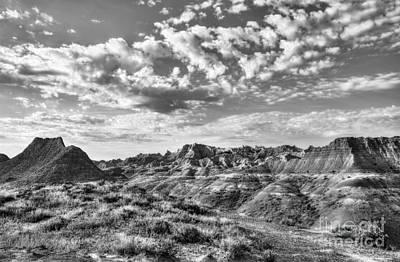 Photograph - South Dakota Badlands 2 Bw by Mel Steinhauer