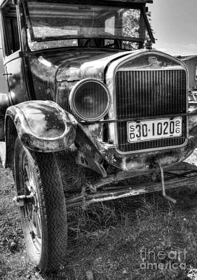 Rusted Cars Photograph - South Dakota Classic Bw by Mel Steinhauer
