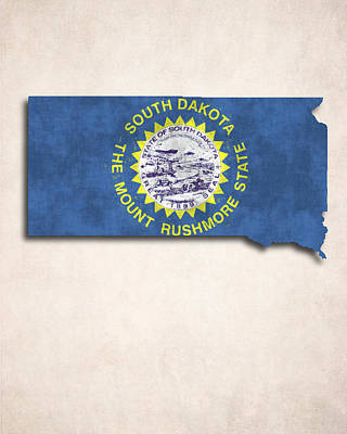 South Dakota Map Art With Flag Design Art Print by World Art Prints And Designs