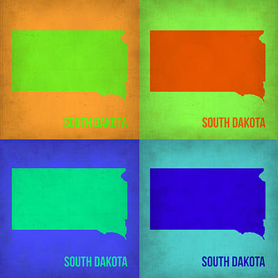 Dakota Painting - South Dakota Pop Art Map 1 by Naxart Studio