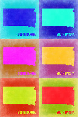 South Dakota Map Painting - South Dakota Pop Art Map 2 by Naxart Studio
