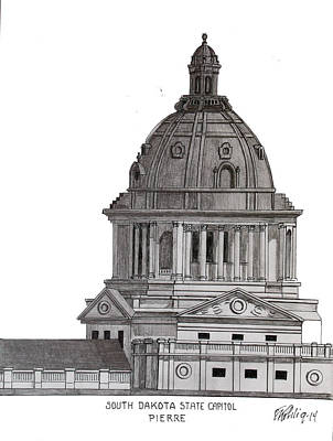 Drawing - South Dakota State Capitol by Frederic Kohli