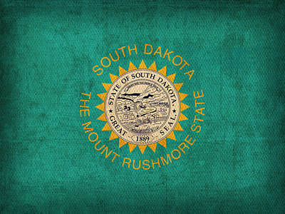 South Dakota State Flag Art On Worn Canvas Art Print