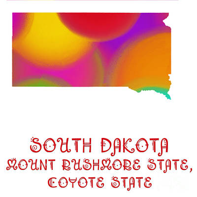 South Dakota State Map Collection 2 Art Print by Andee Design