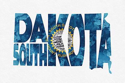 Usa Flag Mixed Media - South Dakota Typographic Map Flag by Ayse Deniz