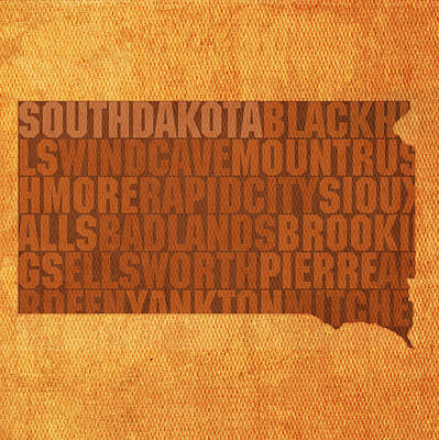 South Dakota Map Mixed Media - South Dakota Word Art State Map On Canvas by Design Turnpike