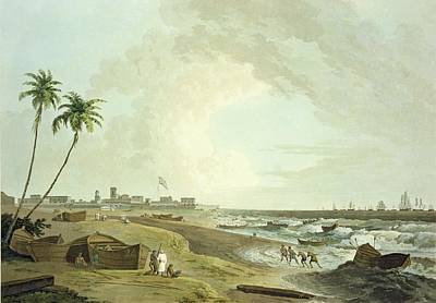 Coastal Landscape Drawing - South East View Of Fort St. George by Thomas Daniell