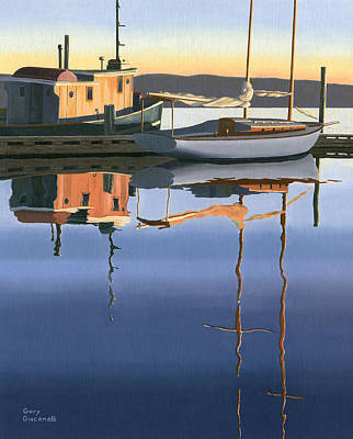 Tugboat Wall Art - Painting - South Harbour Reflections by Gary Giacomelli