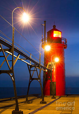 South Haven Light At Night Art Print by Twenty Two North Photography