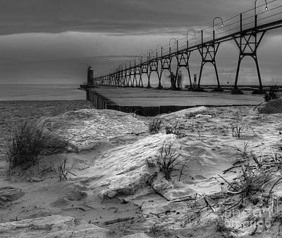 South Haven Lighthouse And Beach Art Print by Twenty Two North Photography