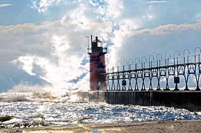 South Haven Lighthouse Art Print by Cheryl Cencich