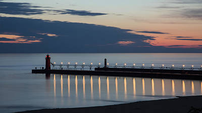 Landmarks Royalty-Free and Rights-Managed Images - South Haven Michigan Lighthouse by Adam Romanowicz