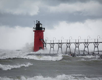 Photograph - South Haven Pier Light In A Storm by Kimberly Kotzian