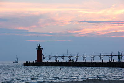 Photograph - South Haven Sunset With Sailboat by Bill Woodstock