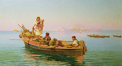 Net Painting - South Italian Fishing Scene by Pietro Barucci