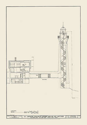 Ocean Scenes Drawing - South Manitou Island Lighthouse Number 2 by Jerry McElroy - Public Domain Image
