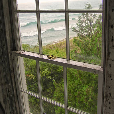 South Manitou Island Lighthouse Window Art Print