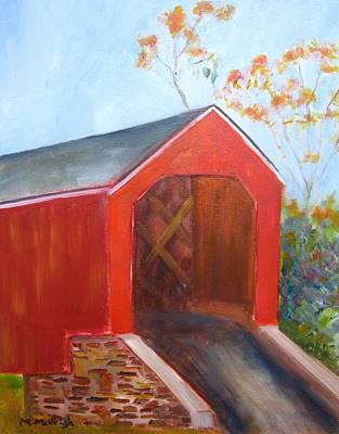 Covered Bridge Painting - South Perkasie Covered Bridge by Marita McVeigh