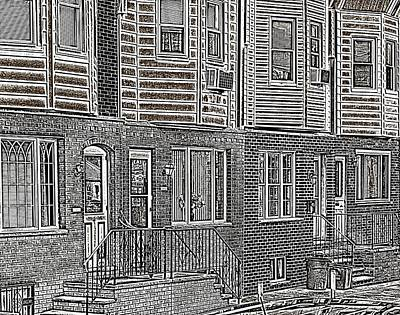 South Philly Digital Art - South Philly Row Homes by John Janette