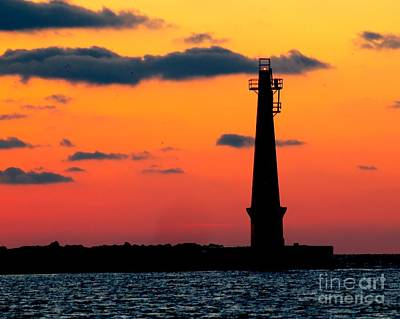 Muskegon Lighthouse Wall Art - Photograph - South Pier Light At Night by Nick Zelinsky