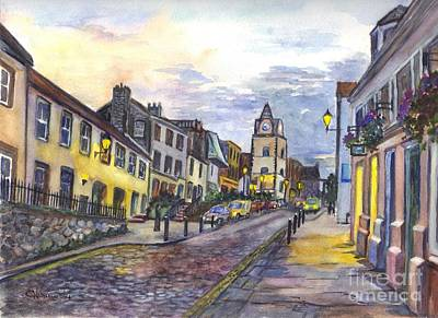 Streetscenes Painting - Nightfall At South Queensferry Edinburgh Scotland At Dusk by Carol Wisniewski