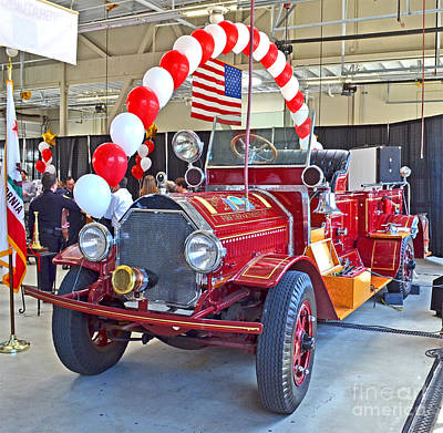 Photograph - South San Francisco's Restored 1916 Seagrave Fire Engine by Jim Fitzpatrick