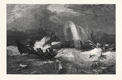 Whaling Drawing - South Sea Whaling by Brierly, Oswald Walters (1817-1894), English