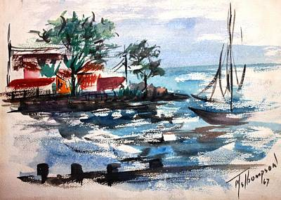 Painting - South Shore Dock 1967 by Mary Spyridon Thompson
